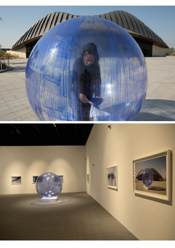 5-Ebtesam Ahmed ,Blue Freedom2013,Installation( sphere), Performance Documentation, photos (100x 80 cm) 2videos 3min