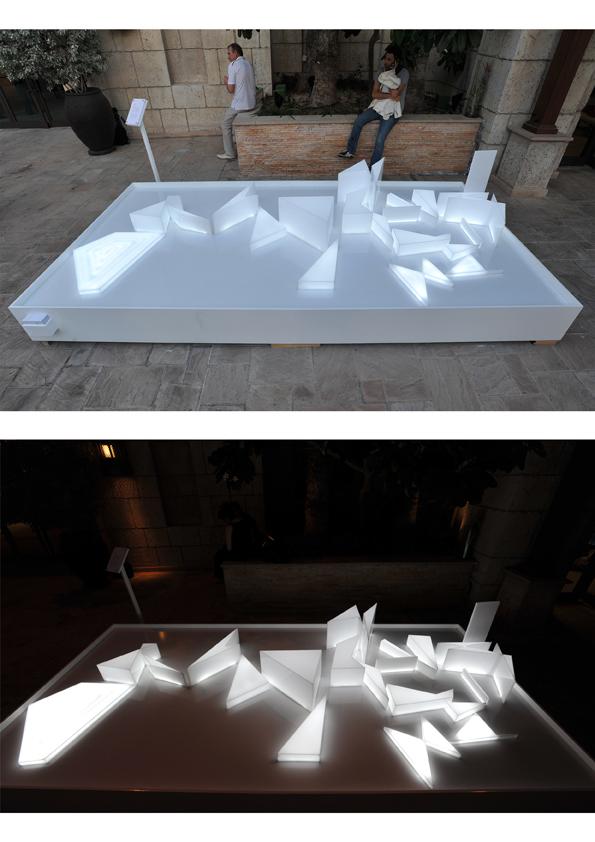 7-Ebtesam Ahmed ,Remapping the Arab world, 2013, Installation (Acrylic, wood, aluminium, LED light) 200x400x60cm